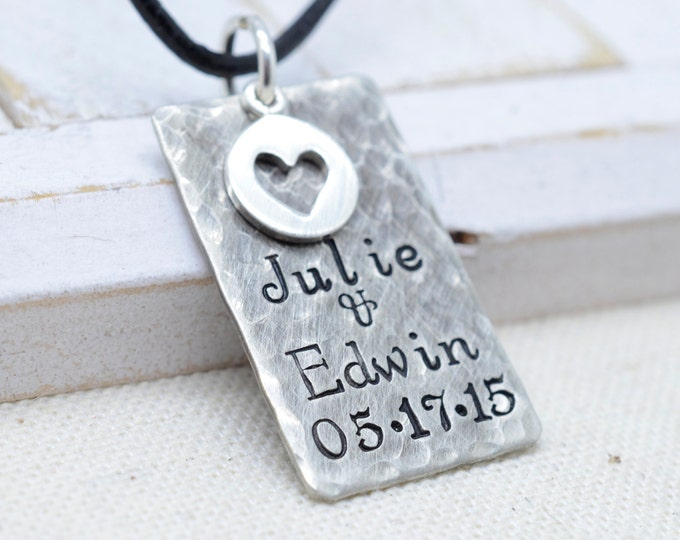 Valentine's Day Gift, Personalized Rustic Necklace with Heart, Gift for Him, Gift for Men, Unisex Necklace, Gift for Husband, Wedding Gift