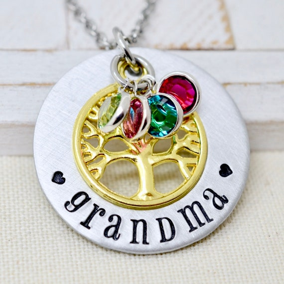 Grandmother Necklace Birthstone Family Tree Necklace For Etsy