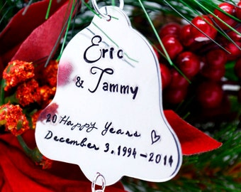 Personalized Bell Christmas Ornament, Hand Stamped Christmas Ornament, Custom Metal Ornament, Family Ornament