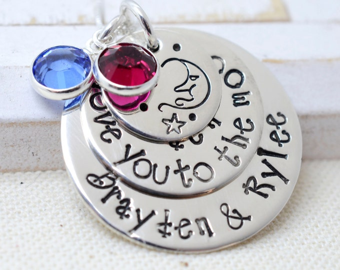 Love You To The Moon Personalized Name Necklace - Moon and Stars - Gift for Mom Grandma - Mother's Day Kid's Names -