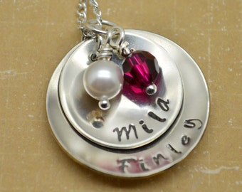 Mommy Necklace Personalized, Birthstone Necklace, Mother's Day, Grandmother Necklace, Child Name, Hand Stamped
