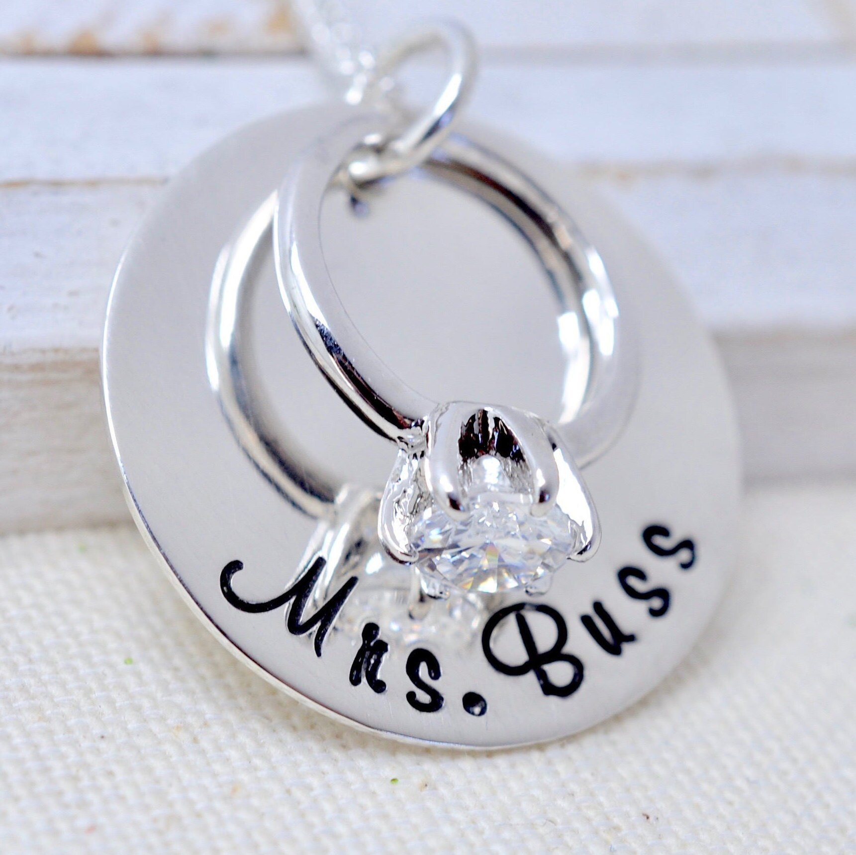 Personalized Wedding Ring Necklace Gift For New Bride