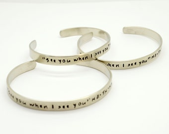 Personalized Silver Cuff Bracelets Set,  Bridesmaid Gift , Bangle, Bridesmaid Jewelry, Custom, Hidden Message, Wedding