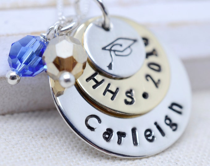 Personalized Graduation Present - Class of 2018 Graduate Necklace - High School College Tech - School Spirit Colored Crystals - Gift for Her