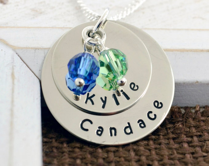 Personalized Necklace for Mom, Birthstone Necklace, Mother's Day, Grandmother Necklace, Child Name, Hand Stamped