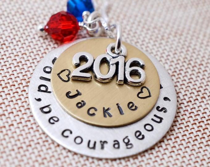 Personalized Class of 2018 Necklace School Colors - 2k18 Seniors School Pride - High School College Tech Grad Gifts - Congratulations Grads