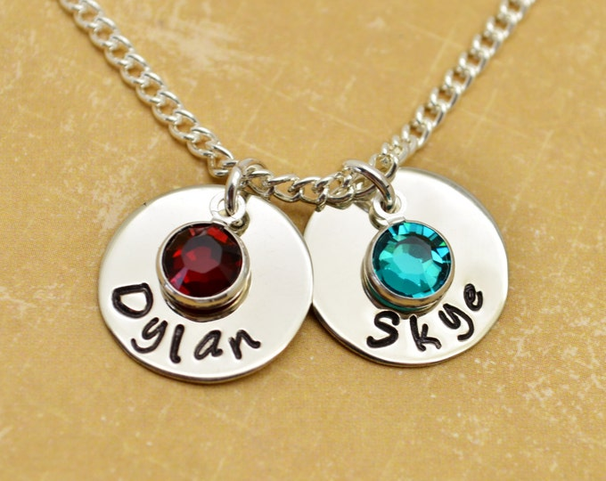 Personalized Mommy Necklace Two Names,  Hand Stamped Jewelry, Custom Necklace, Mom, Mommy, Mother, Birthstone