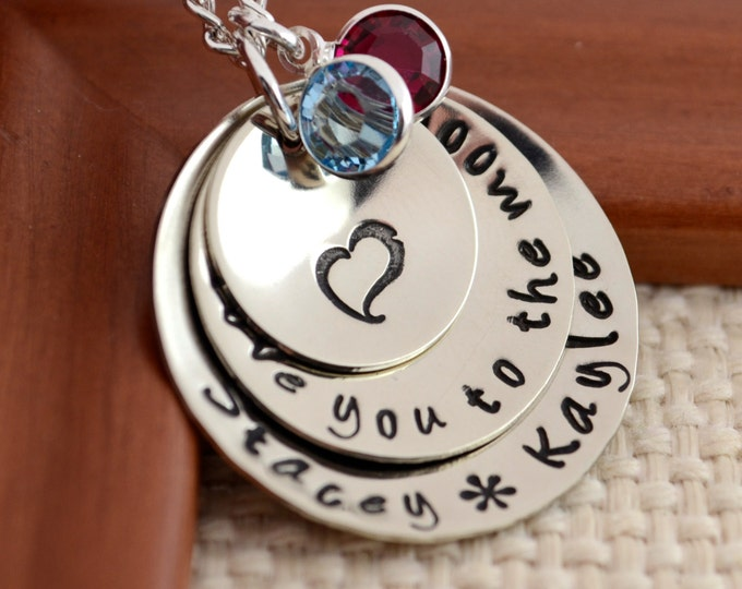 Hand Stamped Mother Necklace, Charm Necklace, Mother's Day, Grandmother Necklace, Child Name, Hand Stamped