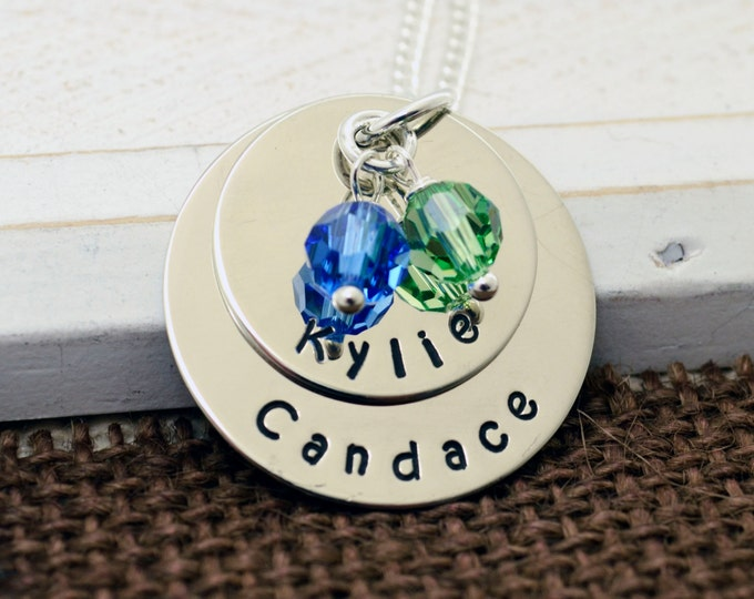 Hand Stamped Mother's Necklace , Personalized Necklace, Mother's Day, Grandmother Necklace, Child Name, Hand Stamped