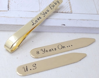 8th Anniversary Gift Set - Personalized Bronze/Gold-Color Tie Clip and Collar Stays Set - Gift for Husband Boyfriend Fiance - Wedding Sets