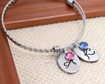 Expandable Bangle Bracelet,Personalized Braided Bangle,  Mother's Gift, Custom Bracelet, Mom, Mommy,Adjustable Bracelet