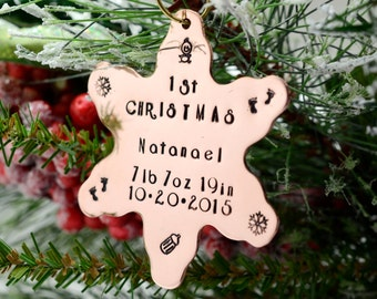 Personalized Copper Snowflake Baby's First Christmas Ornament, Hand Stamped Christmas Ornament, Custom Metal Ornament, Family Ornament