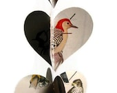 Birds Paper Heart Garland - Valentine's Day Gift or Decoration - Ready to Ship