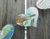 Horizontal Birds Paper Heart Garland - 10, 15, or 20 Feet Long
