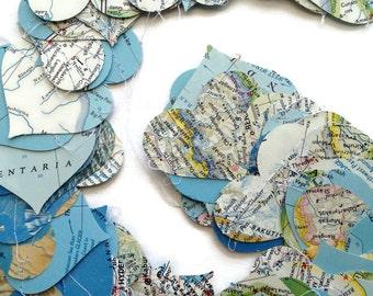 Map Heart Garland Repurposed Vintage National Geographic Atlas