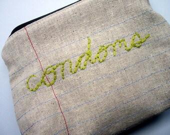 Zipper Pouch- Condoms- Repurposed Denim Jeans- Hand Embroidered