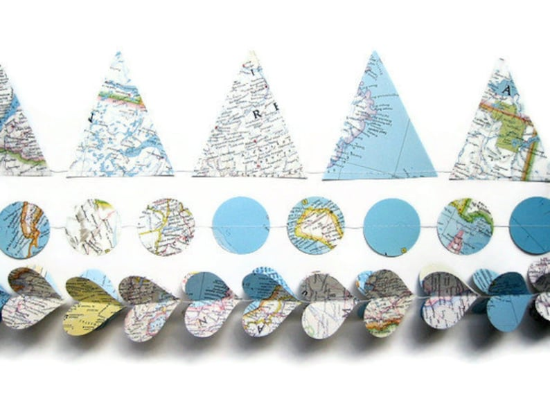 World Map Party Supplies.Handmade Party Supplies World Map Garland Assortment Etsy