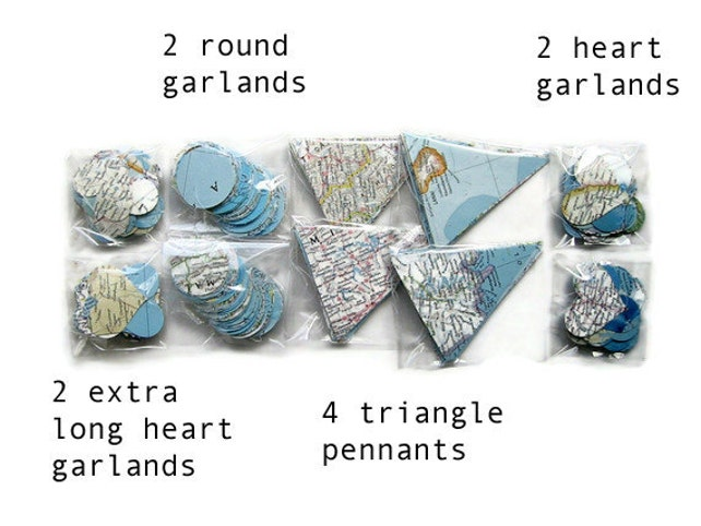 World Map Party Supplies.Handmade Party Supplies World Map Garland Assortment Classroom