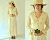 PRAIRIE WEDDING Dress . Vintage 70s Boho Gunne Sax Style Rustic Ivory Cotton Gauze Long Sleeve Corset Wedding Dress