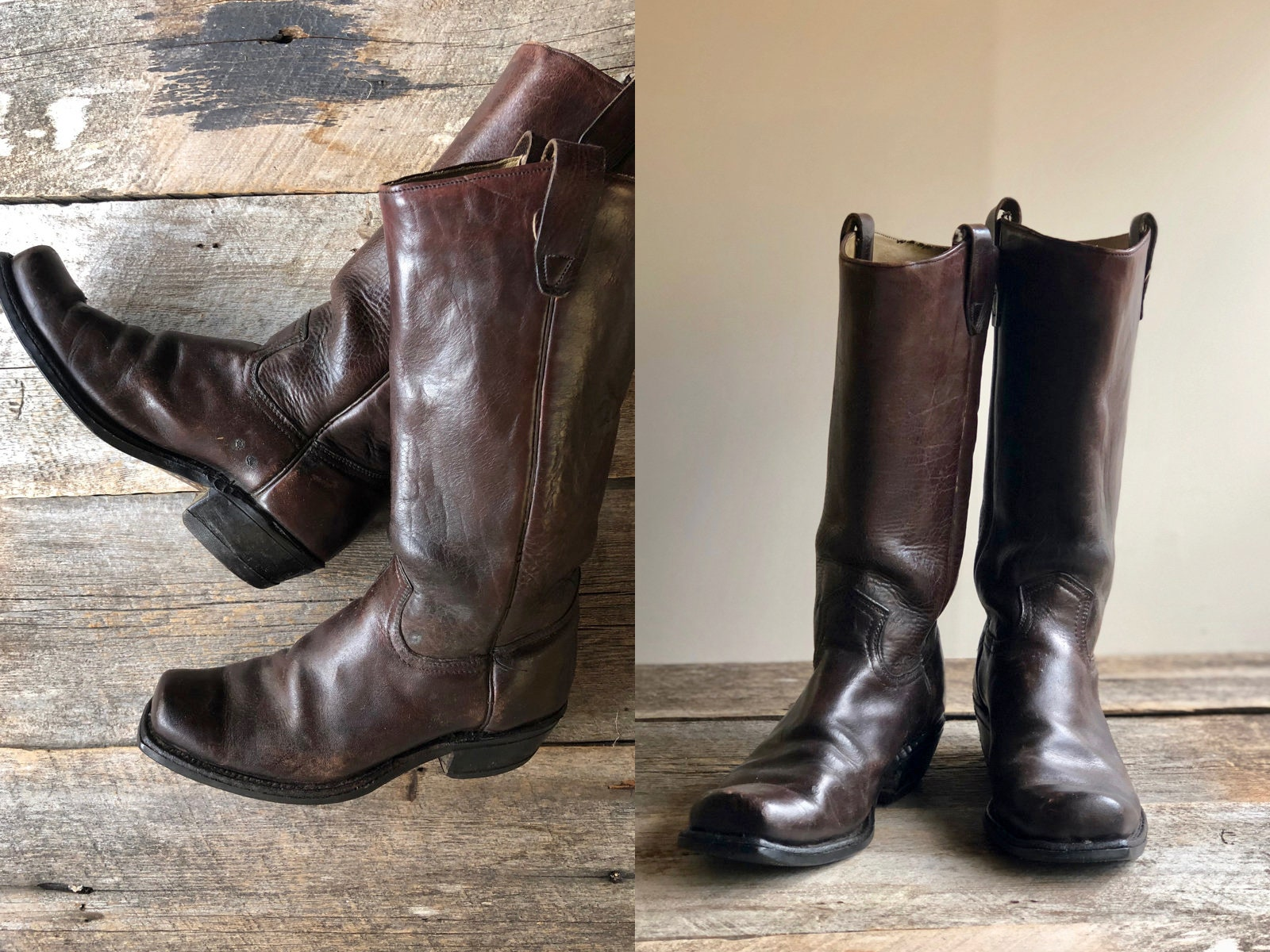 d9bc552255339 Vintage 70s ENGINEER MOTORCYCLE Boots . Brown Leather Square Toe Biker  Boots // Size 8.5 womens Sz 8 1/2 Sz 39