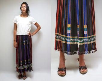 Ethnic Skirt HIPPIE Skirt Long Skirt  INDIA Skirt 70s Boho Skirt Fringe Skirt Maxi Skirt Festival Skirt Tribal Skirt Cotton Skirt Vintage