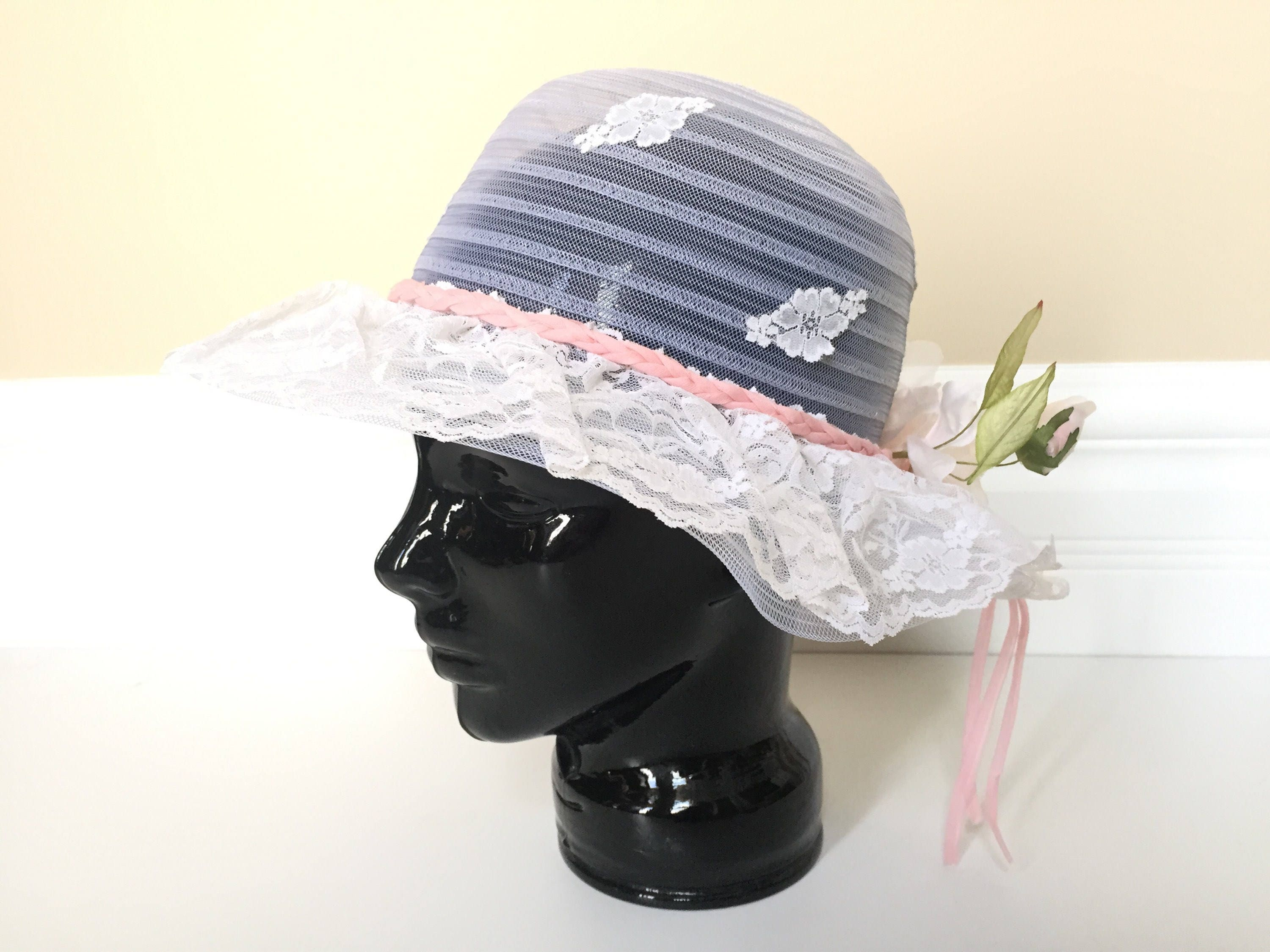 Girls Sun Hat White Lace Hat with Flowers Beach Hat  aabdaa2280e
