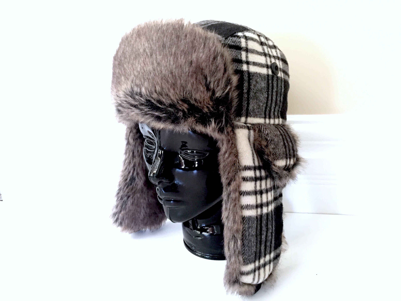 adce291ad4c2f Fur Trappers Hat Faux Fur Hat Vintage Trapper Hats Fur