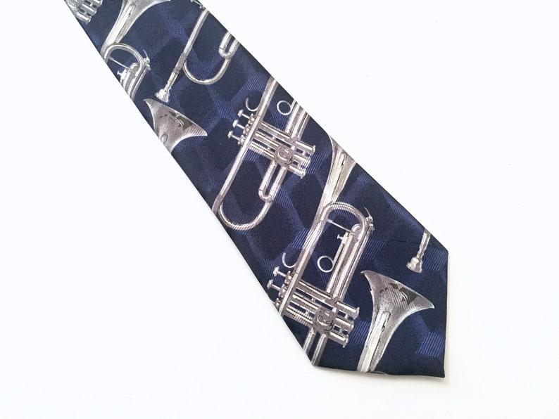 c03bd9d715b3 Trumpet Tie for Men Mens Ties Musical Instrument Mans Tie   Etsy