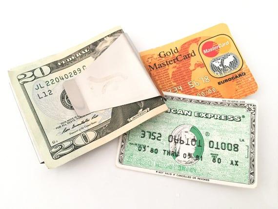 Argent argent Clip - support pour carte de crédit - Mens portefeuille porte-monnaie Vintage homme carte homme étui portefeuille homme Womens Wallet carte portefeuille portefeuille de voyage