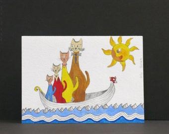 Sailing Cats - original illustrated greeting card