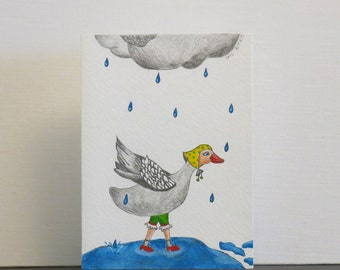 Goose - original illustrated greeting card