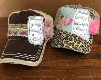 a6ccd01429a grateful thankful blessed mason jar leopard cheetah animal print vintage  floral shabby chic ladies distressed mesh trucker cap hat
