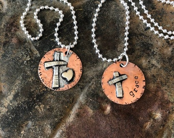 """Christian religious cross heart grace artisan OOAK hand stamped mixed metal silver copper disc round 24"""" long necklace"""