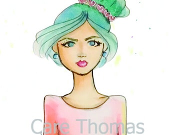 Hearts in My Hair Fashion Illustration Print
