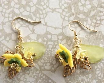 Yellow Flower Earrings, Garden Treasures Earrings, Drop and Dangle Style, Flowers, Handmade Earrings