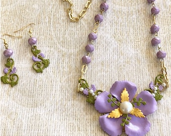 Flower Necklace Set, Spring Jewelry, Handmade Jewelry, Lavender Flower Necklace