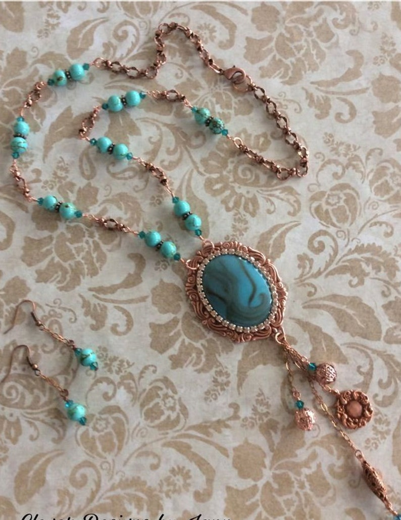 Turquoise Colored Cab Handmade Jewelry Cowgirl Southwestern Necklace Set Western Jewelry Copper Component Rodeo Jewelry Howlite