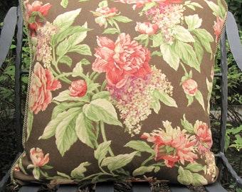 Shabby Chic Chocolate Brown/Rose Designer Toss Pillow / Retro Toss Pillow / Cottage Toss Pillow