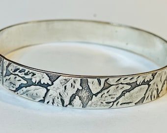 Hallmarked Bamboo Leaf Chunky Sterling Silver Cuff Bangle with 24 ct Gold Overlay Leaf Design