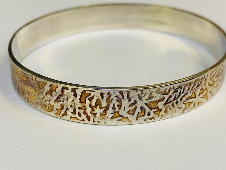 Sterling silver embossed print oxidised bangle Hallmarked in Edinburgh