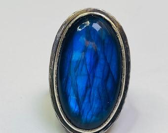 Sterling silver handmade labradorite statement ring, Hallmarked in Edinburgh