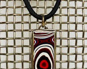 Sterling silver handmade unisex fordite pendant