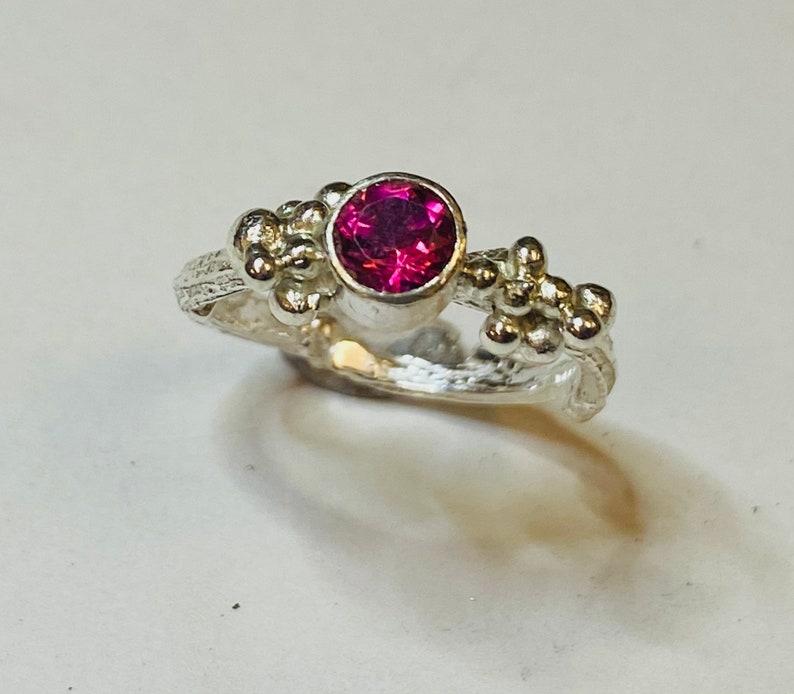 Sterling silver handmade twig effect pink topaz ring with granulation Hallmarked in Edinburgh