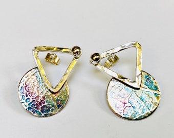 Sterling silver handmade embossed print earrings, Hallmarked in Edinburgh