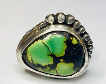 Sterling silver handmade hubei turquoise statement ring, Hallmarked in Edinburgh