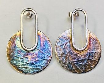 Sterling silver oxidised embossed pattern drop earrings, Hallmarked in Edinburgh