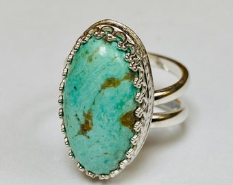 Sterling silver handmade turquoise ring, Hallmarked in Edinburgh
