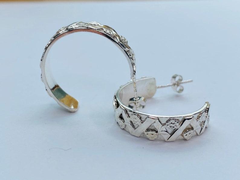 Hallmarked in Edinburgh Sterling Silver handmade patterned hoop earrings
