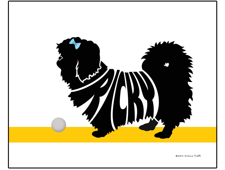 Personalized Pekingese Silhouette Print Dog Name Art Unique Etsy