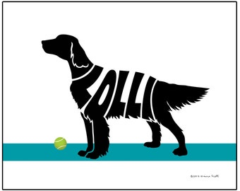 Personalized English Setter Print, English Setter Silhouette with Dog's Name, Dog Lover's Gift or Memorial Gift